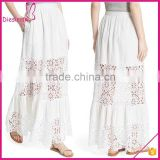White Lace Insert Beautiful Designer Long Linen Skirts
