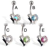 Heart Belly Button Ring With Gems