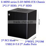 2014 New arrival E-MINI series E-D3 MINI-ITX Aluminum chassis with Standard ATX Power Supply optional 2* PCI Slots 2*COM