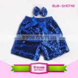 Summer Shiny Fashion New Design Baby Girl Royal Blue Sequin Shorts & Pants Boy Sparkling Shorts Newborn Baby Sequin Bow Short