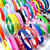 100% food grade silicone custom design/ color/ logo/ size custom silicone basketball wristbands