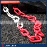 Red and white plastic chain, decorative plastic chain, 6mm PVC traffic barrier plastic warning chain