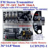 NEW FM Stereo transmitter module DC3-16v 3mW 16mA, campus radio FM transmitter wireless microphone 76-108Mhz,non-volatile memory