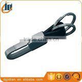 """Metal Belt Clip Hook Black PVC Leather Strap 2 Ring stainless steel car key chain"