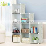 Green grain design portable plastic modern bookcase