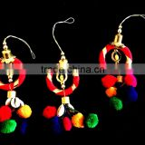 Latest Banjara accessory Indian Trbal boho pom pom beads Key Chain/bag/curtain/dress multi color tassels