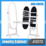 Black frame free floor jewelry storage stand cabinet mirror with nice price