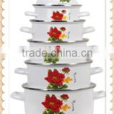 Delicate White Enamel Cookware Set Two Side Flower Decal Enamel Pot 5 Pcs Stock Belly Pot With Lid