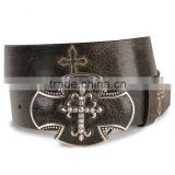 Western Crackled black leather belt cross stitch distressed leather rhinestones belt