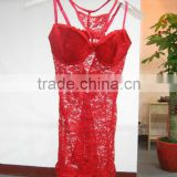 Red color high quality wholesale 2016 plus size sexy lace transparent nightwear for women