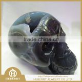 high quality wholesale Crystal Skull Sculpture Decorative Skull/ Gift Skull with amethyst geode