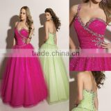Sweetheart appliqued beaded fuschia custom-made one shoulder ball gowns CWFab4243