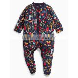 Accept paypal factory OEM Navy Print baby sleepsuits