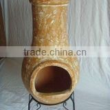 clay chimney with metal stand, fire shelf and lid,W11C005