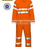 orange red safety waterproof hi-vis coverall for men with 300D oxford high visibility reflective tape oem service