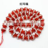 4-12 mm red agate crystal rhinestone stone strand 2016 new round stone beads with crystal& rhinestone setting