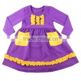 New Boutique Dresses Baby Ruffle Dress Children Cotton Designs Dress Fall Baby Girl Dress