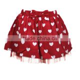 Knee length facny design heart printing with lace bottom skirt for 2-14years girl