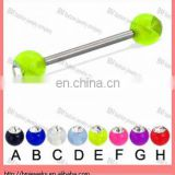 Wholesale Transparent 14G acrylic ball tongue ring body pierced stainless steel body jewelry