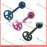 Fashion titanium peace sign flat tongue ring body piercing jewelry