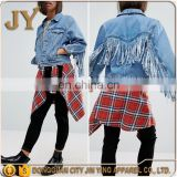 New Design Women Long Sleeve Summer Denim Midwash Blue Short Jackets with Fringed Back
