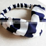 Polyester Custom Stripe Printed Hair Band Hair Accessories Elastic Wide Headband For Women