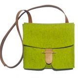 felt crossbody bag with leather strps from China factory