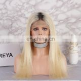 2018 new fashion hot selling blond color with dark roots full lace wig brazilian human hair