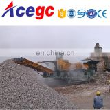 Mobile stone crushing plant with truck chasis composed of crusher,vibrating screen and transport conveyor
