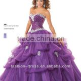 2014 New Arrival Ruffled Tulle Sequins Beaded Purple Quinceanera Dresses