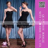 New 2015 Fashion Brand Women Dress Sexy Short Black Strapless Lace Elegant Party Dress