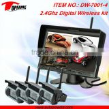 2.4Ghz digital wireless camera system with inbuilt DVR, QUAD function, ideal for car reversing, monitoring 150m barrier free