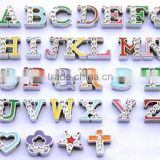 8mm colorful letters with rhinestone slide letters DIY jewelry accessories