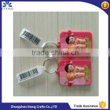 Popular custom designed soft rubber keychain with printed bar code