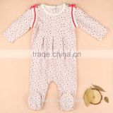 Organic Cotton Long Sleeve Footed Damask Footed Pajama Sleeper Romper