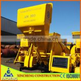 Movible 350L diesel concrete mixer with hydraulic hopper