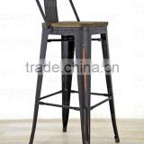 Wash color Metal Stool with wooden seat ,HYG-01A