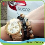 Natural stone stretch bracelet Men Snowflake stone buddha bracelet black facted stone jewelry for man