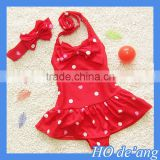 HOGIFT baby cute siamese dress style swimwear child dot pattern dance dress with headdress