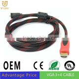 1.4V Gold HDMI to VGA cable for mac HD-15 Male Cable 6ft Male to Male HDMI to VGA/DVI/RCA/ adapter converte cable