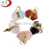 Wholesale Mixed color Stone Pendants natural Quartz Gemstone Point Pendant for jewelry necklace diy