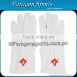 Masonic Regalia Gloves White Cotton Embroidery Logo With Square and Compass in Red color