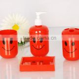 Smile face red plastic bathroom accessory/Tumbler/soap dish/Lotion bottle/Toothbrush holder