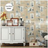 remnants printed vinyl coated wallpaper, yellow mediterranean lighthouse wall paper for masculine room , chromatic wallcovering
