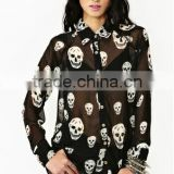 Factory outlets skull new patch work blouse designs BU020