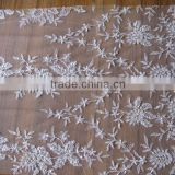 velvet embroidery cream tulle beads embroidery lace fabrics./Pearls Beaded Embroidery Lace Designs