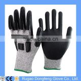 Level 5 Cut Resistant Nitrile Dipped Gloves With Chips Knuckle Protecion,Heavy Duty Mechanic Gloves