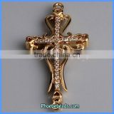 Wholesale Luxury Gold Plated Sideways Cross Connectors With CZ Rhinestones MC-CZ04B