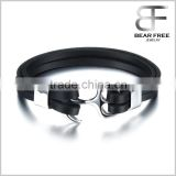 316L Stainless Steel Anchor Doule Layers Genuine Cowhide Leather Bracelet Silver Black Two tones