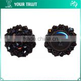 6MM Black Glass Bead 2MM Black Bead Plastic Shank Cover Button